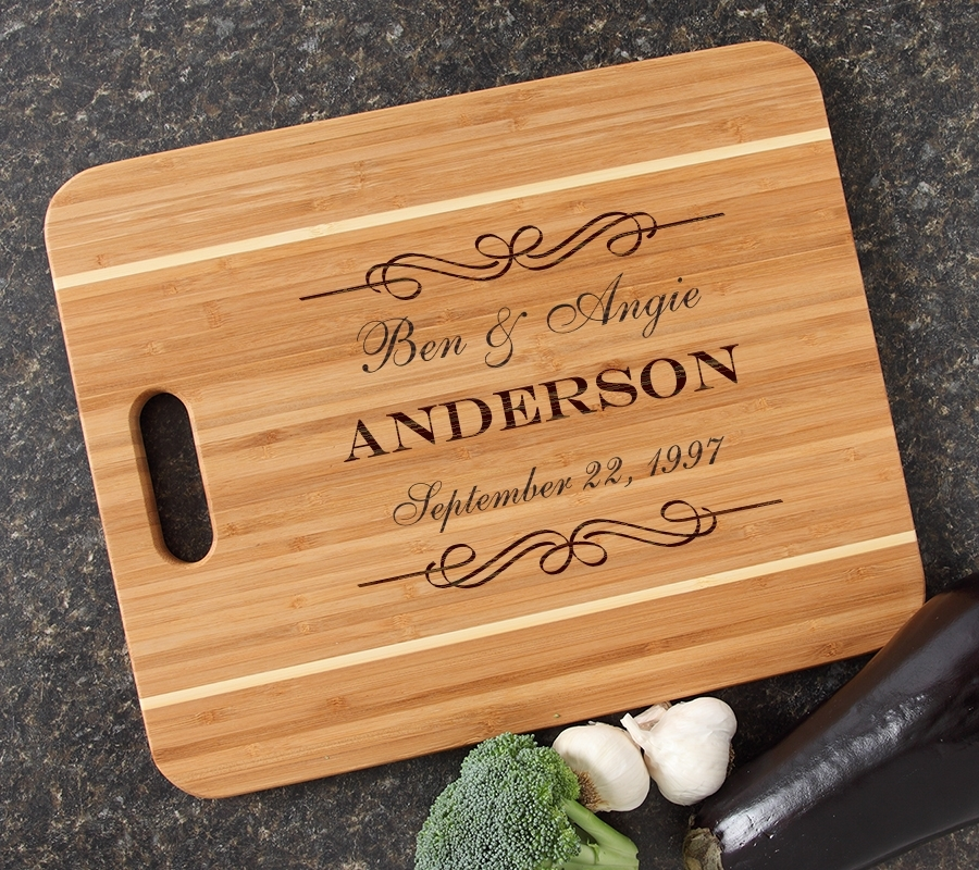 Personalized Cutting Board Engraved 15x12 Handle  DESIGN 9 CBA-009
