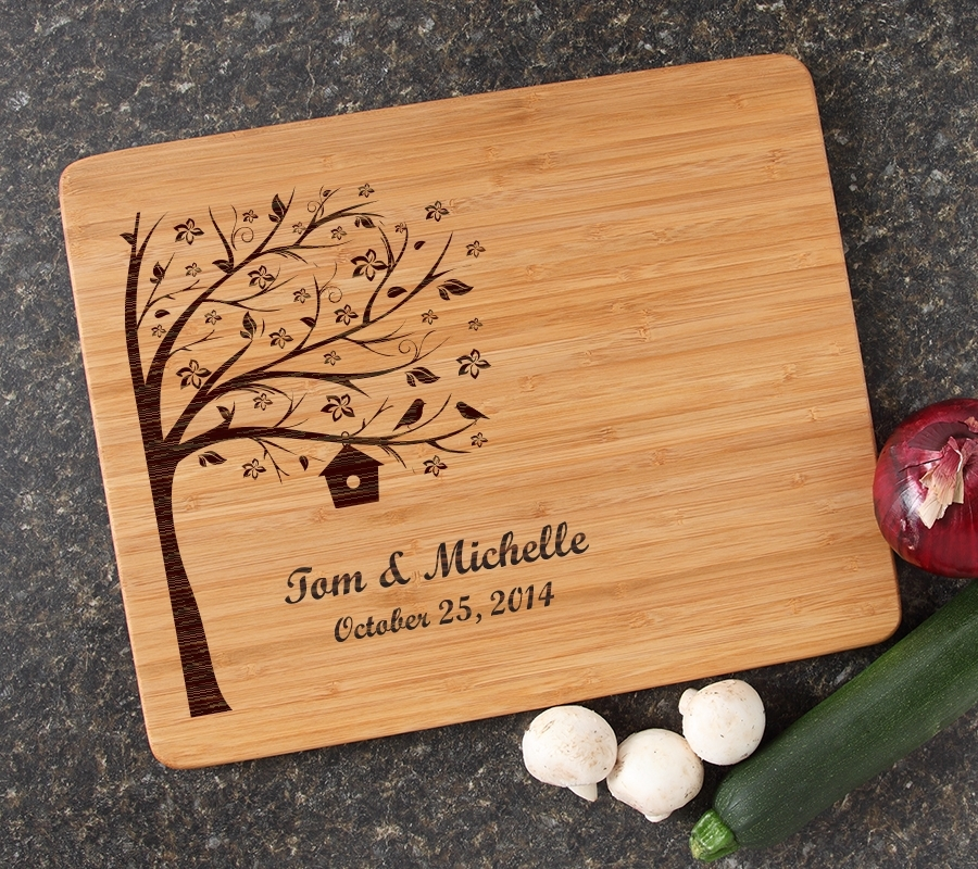 Engraved Bamboo Cutting Board Personalized 15x12 DESIGN 27 CBB-027