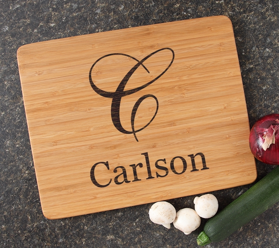 Engraved Bamboo Cutting Board Personalized 15x12 DESIGN 3 CBB-003