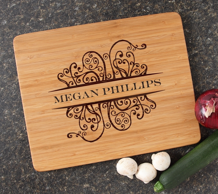 Engraved Bamboo Cutting Board Personalized 15x12 DESIGN 4 CBB-004