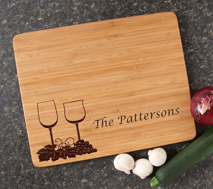 Engraved Bamboo Cutting Board Personalized 15x12 DESIGN 5 CBB-005