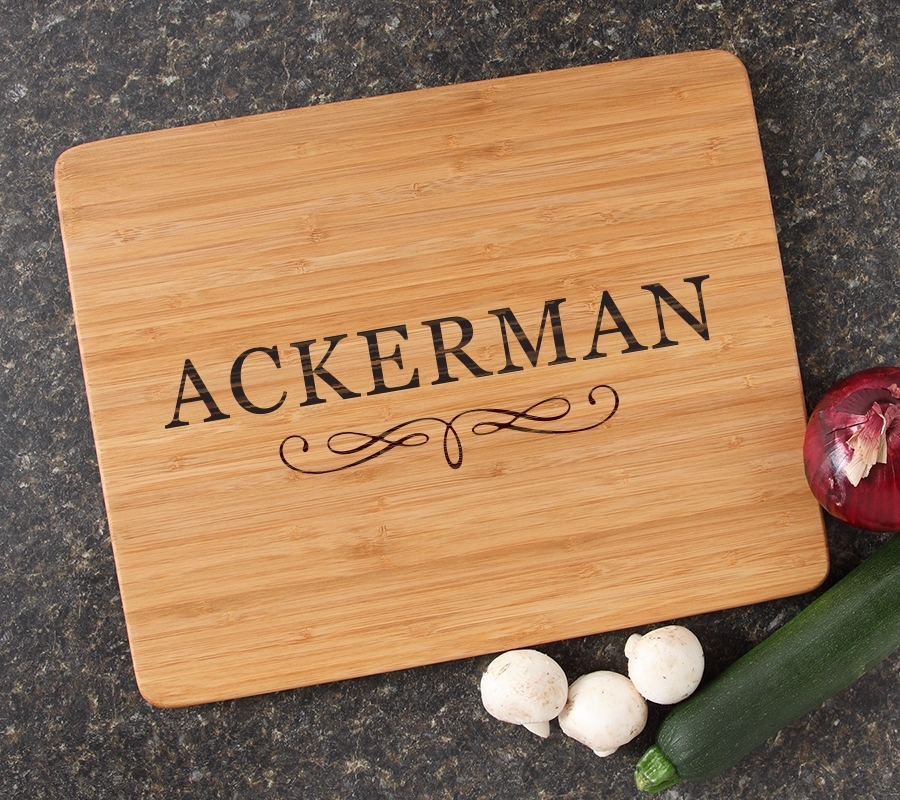 Engraved Bamboo Cutting Board Personalized 15x12 DESIGN 8 CBB-008