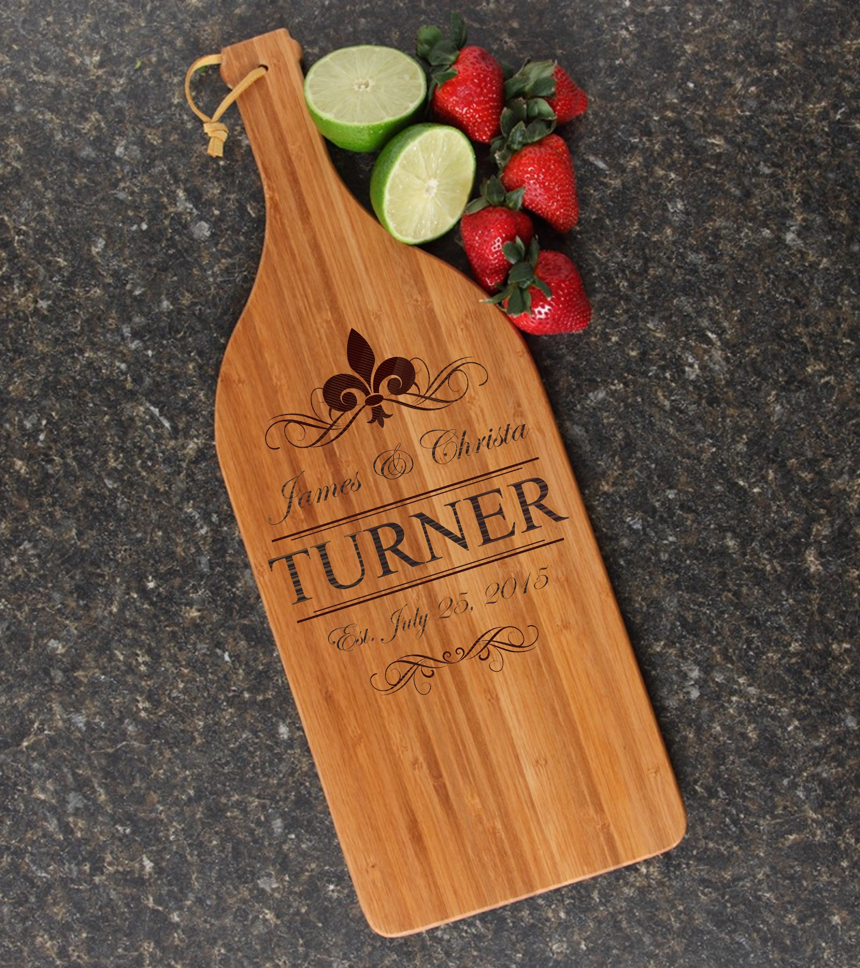 Personalized Cutting Board Engraved Bamboo 16 x 5 DESIGN 20 CBD-020