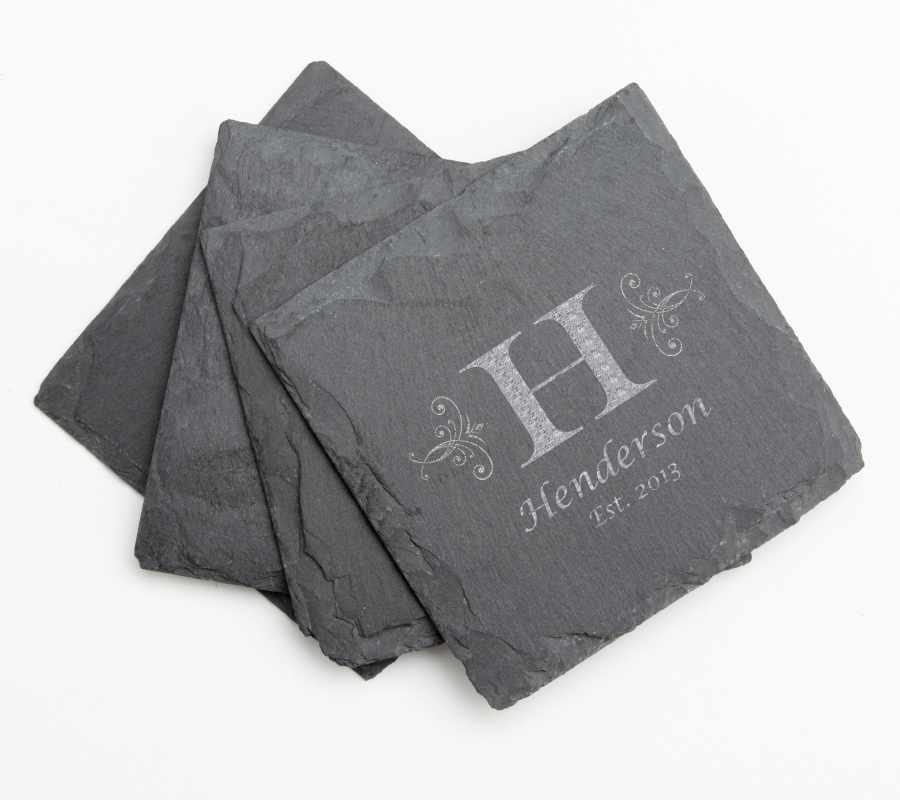 Personalized Slate Coasters Engraved Slate Coaster Set DESIGN 2 SCS-002