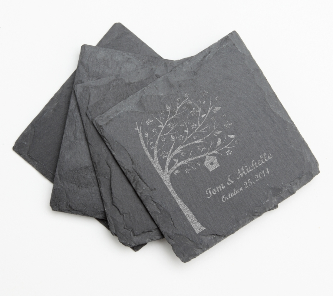 Personalized Slate Coasters Engraved Slate Coaster Set DESIGN 27 SCS-027