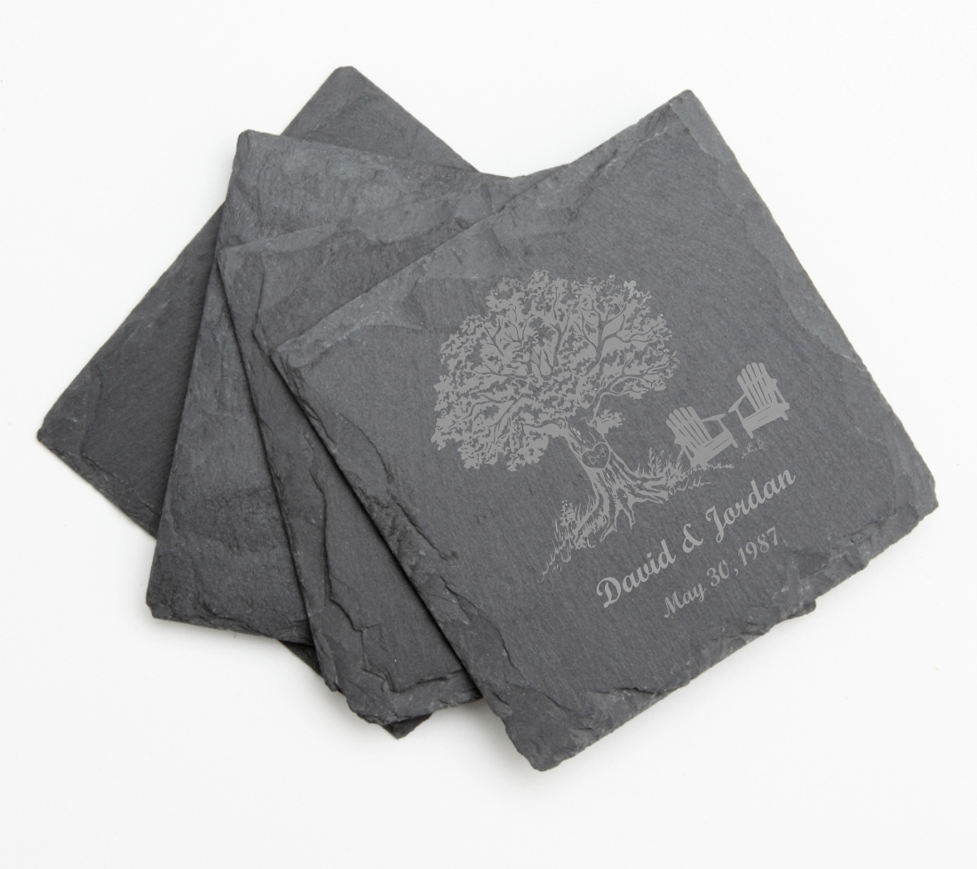 Personalized Slate Coasters Engraved Slate Coaster Set DESIGN 31 SCS-031