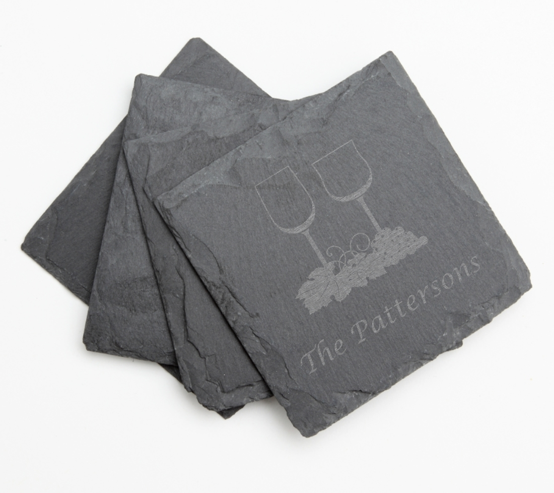 Personalized Slate Coasters Engraved Slate Coaster Set DESIGN 5 SCS-005
