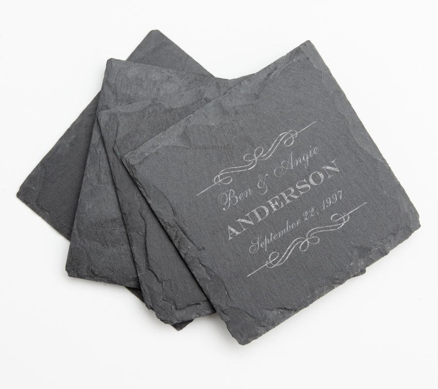 Personalized Slate Coasters Engraved Slate Coaster Set DESIGN 9 SCS-009