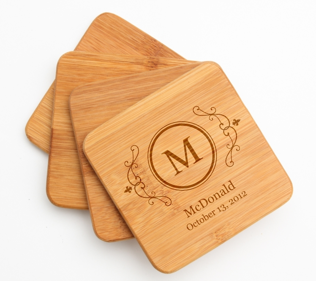 Personalized Bamboo Coasters Engraved Bamboo Coaster Set DESIGN 10 BCS-010