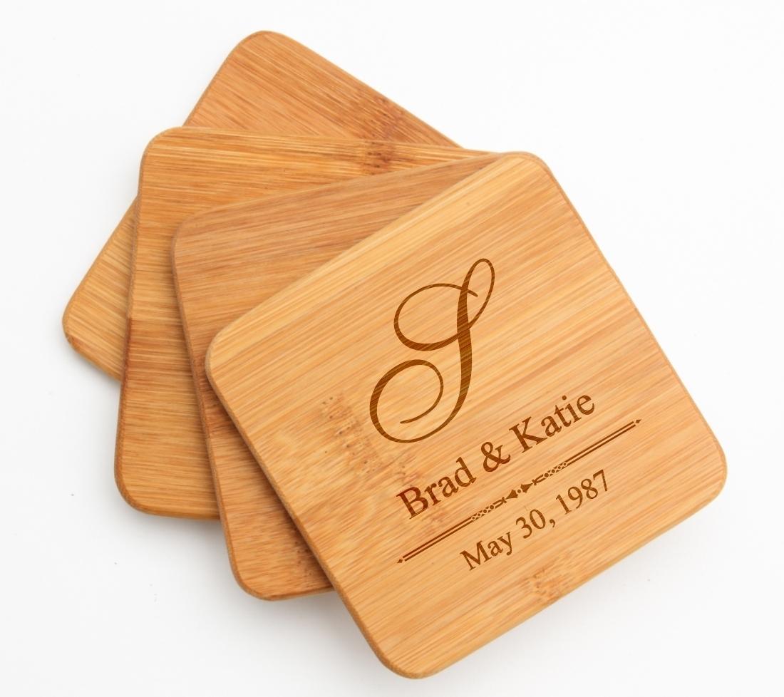 Personalized Bamboo Coasters Engraved Bamboo Coaster Set DESIGN 11 BCS-011