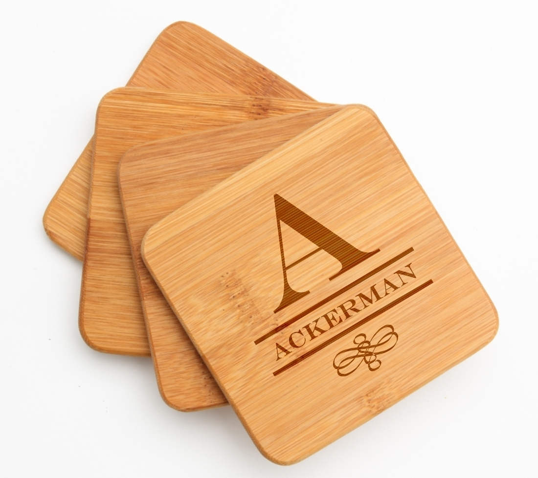 Personalized Bamboo Coasters Engraved Bamboo Coaster Set DESIGN 12 BCS-012