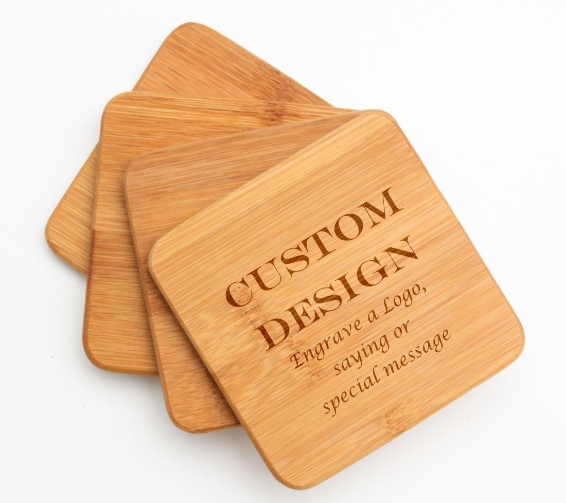 Personalized Bamboo Coasters Engraved Bamboo Coaster Set DESIGN 13 BCS-013