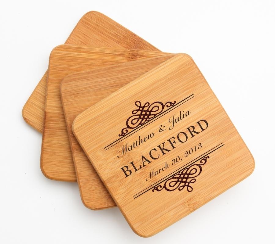 Personalized Bamboo Coasters Engraved Bamboo Coaster Set DESIGN 14 BCS-014