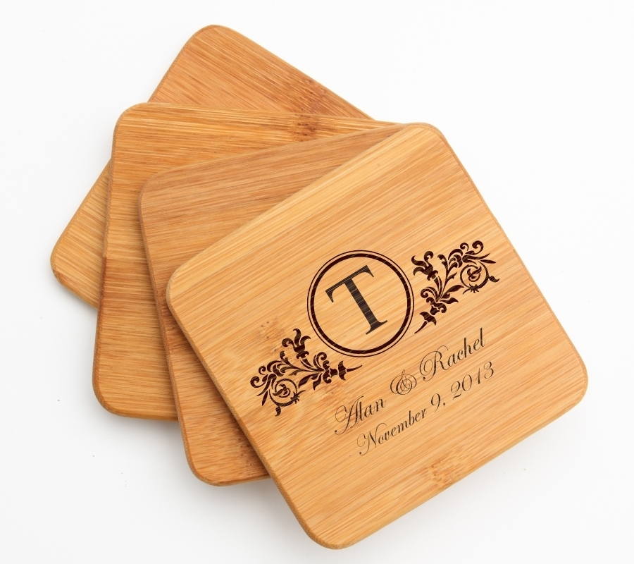 Personalized Bamboo Coasters Engraved Bamboo Coaster Set DESIGN 15 BCS-015