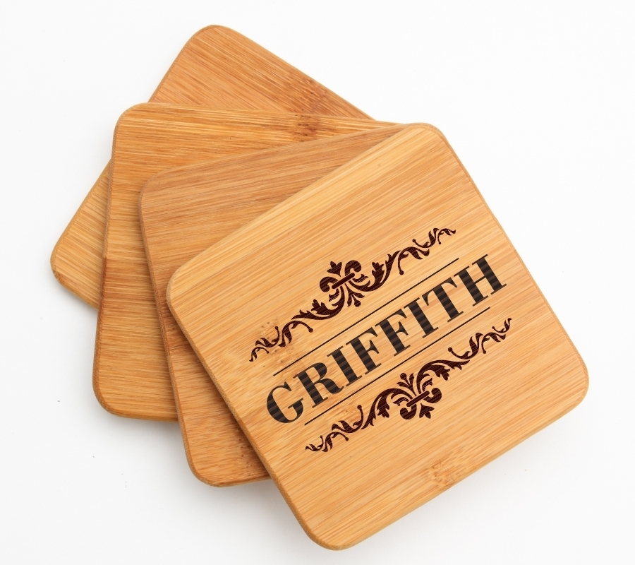 Personalized Bamboo Coasters Engraved Bamboo Coaster Set DESIGN 16 BCS-016