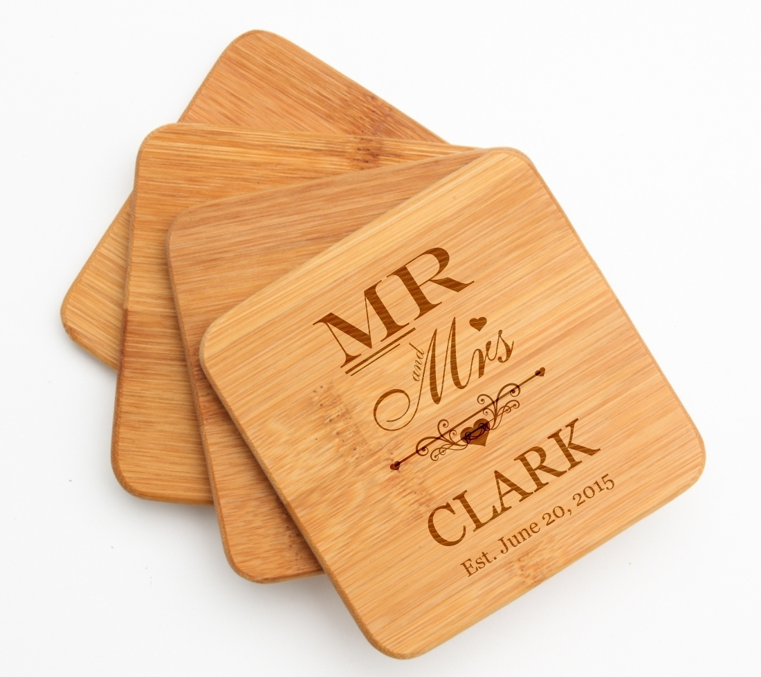 Personalized Bamboo Coasters Engraved Bamboo Coaster Set DESIGN 21 BCS-021