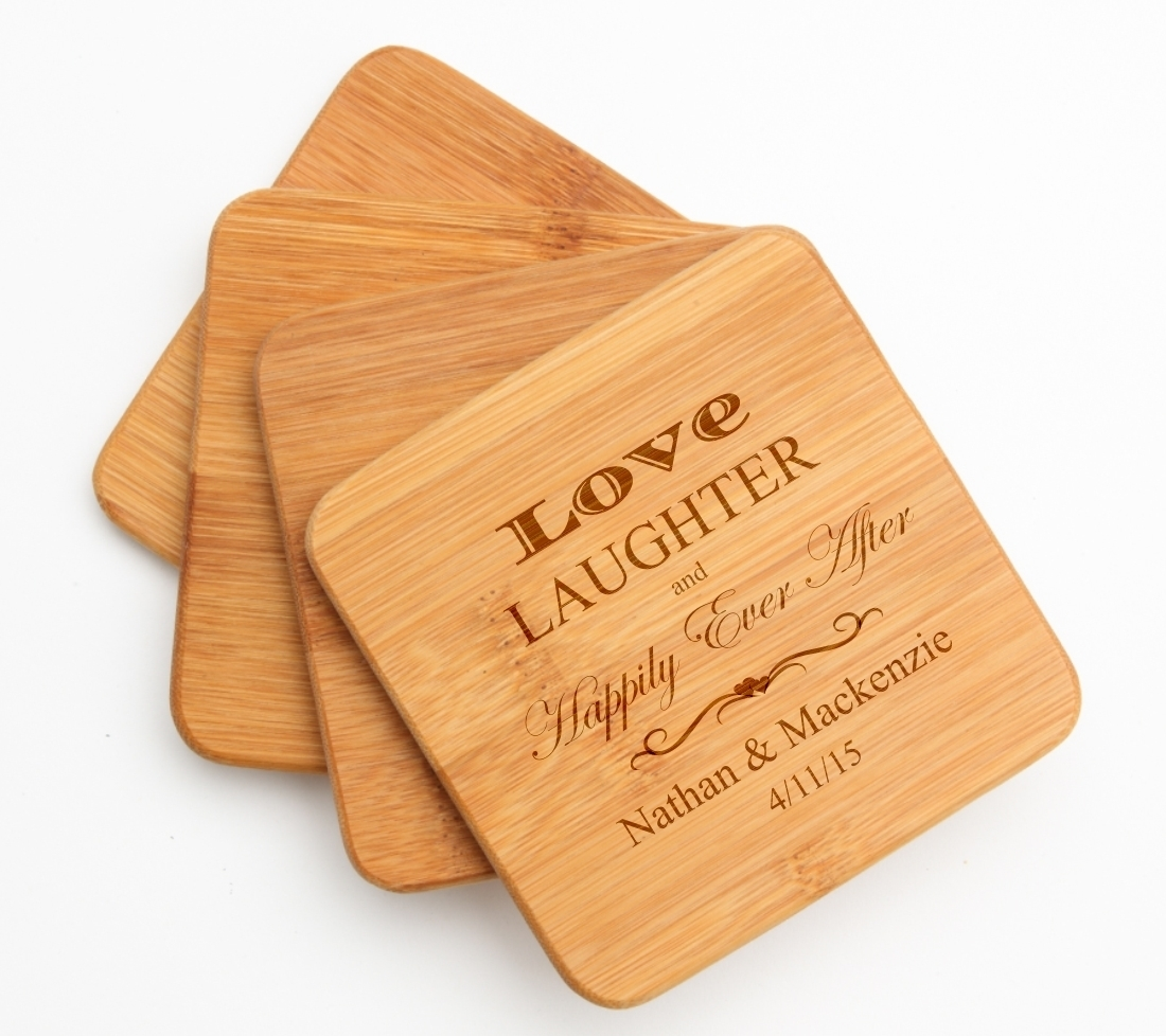Personalized Bamboo Coasters Engraved Bamboo Coaster Set DESIGN 26 BCS-026