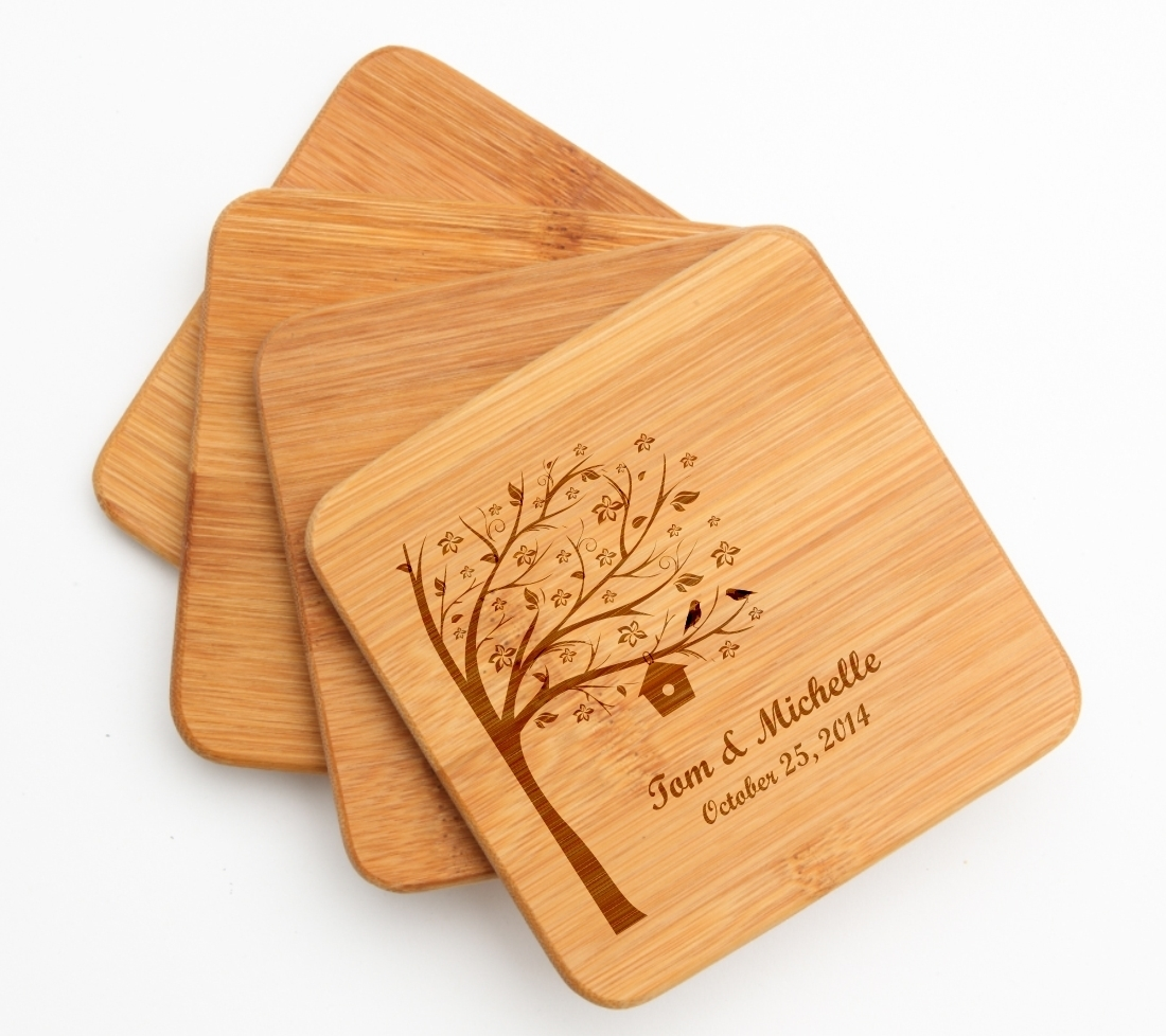 Personalized Bamboo Coasters Engraved Bamboo Coaster Set DESIGN 27 BCS-027