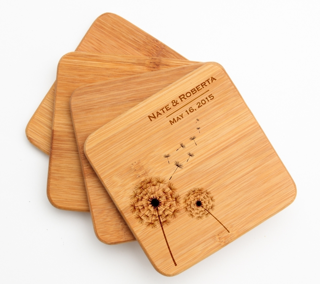 Personalized Bamboo Coasters Engraved Bamboo Coaster Set DESIGN 28 BCS-028