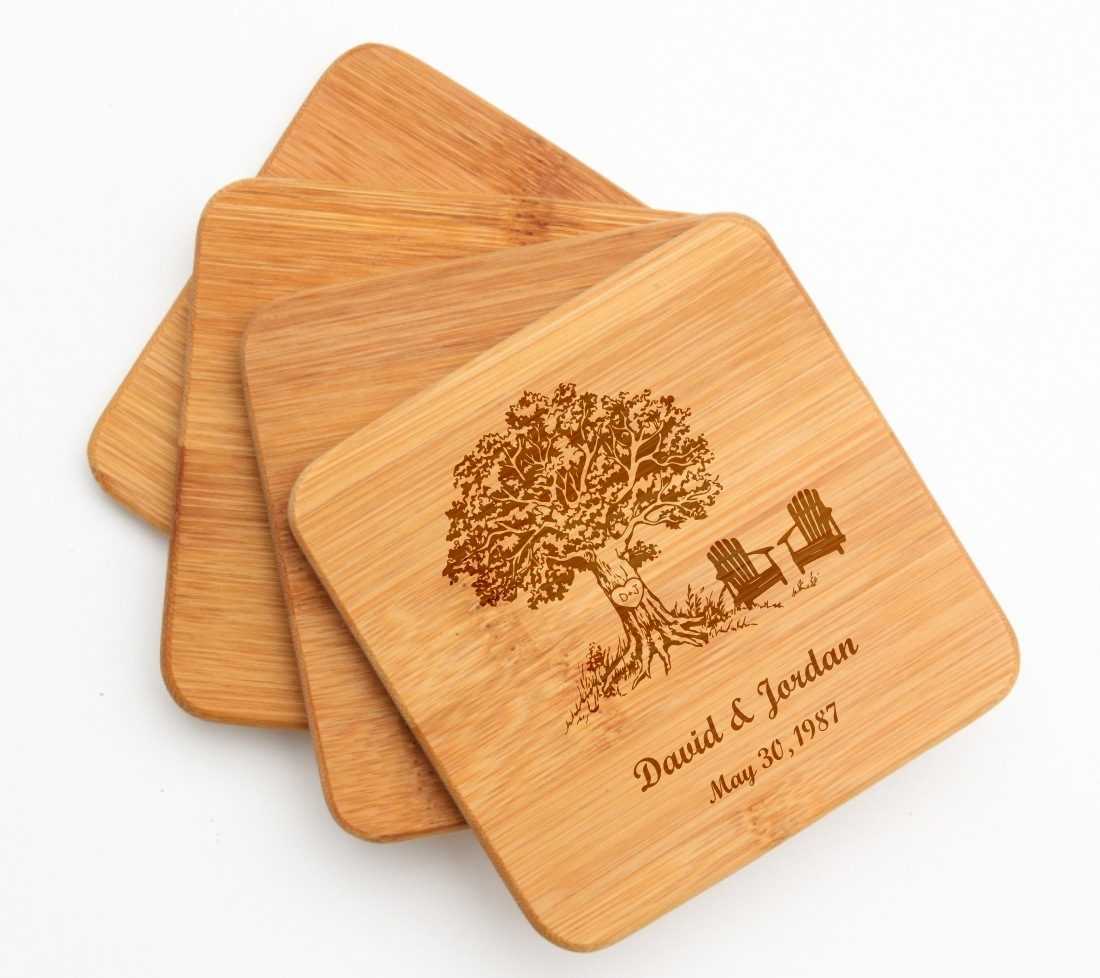 Personalized Bamboo Coasters Engraved Bamboo Coaster Set DESIGN 31 BCS-031