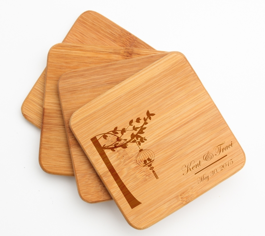 Personalized Bamboo Coasters Engraved Bamboo Coaster Set DESIGN 32 BCS-032
