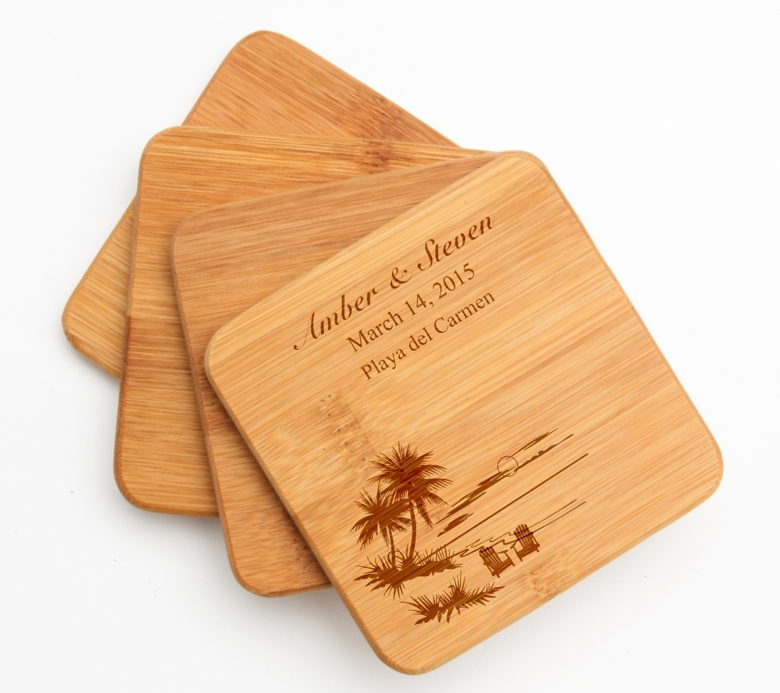 Personalized Bamboo Coasters Engraved Bamboo Coaster Set DESIGN 33 BCS-033