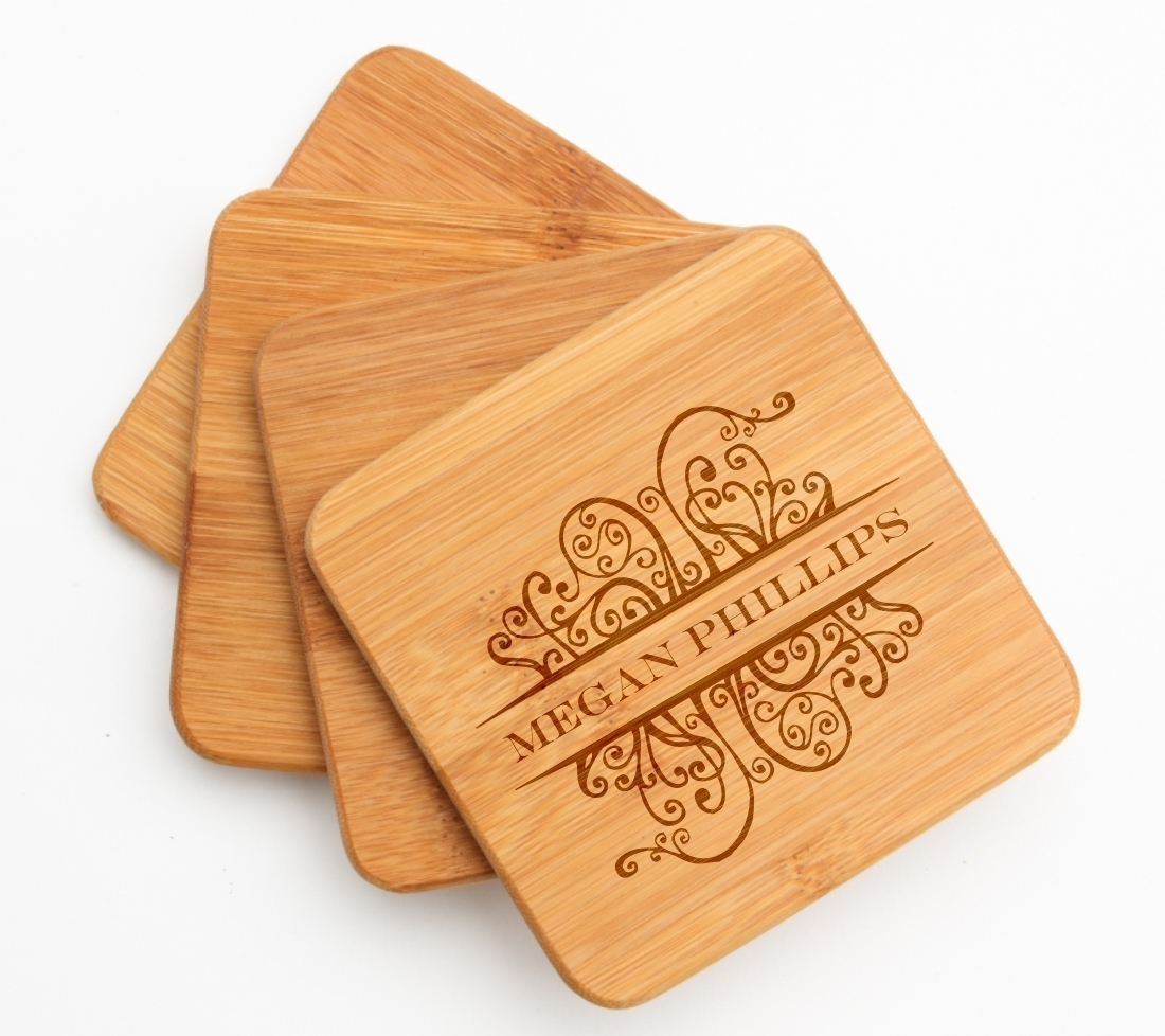Personalized Bamboo Coasters Engraved Bamboo Coaster Set DESIGN 4 BCS-004