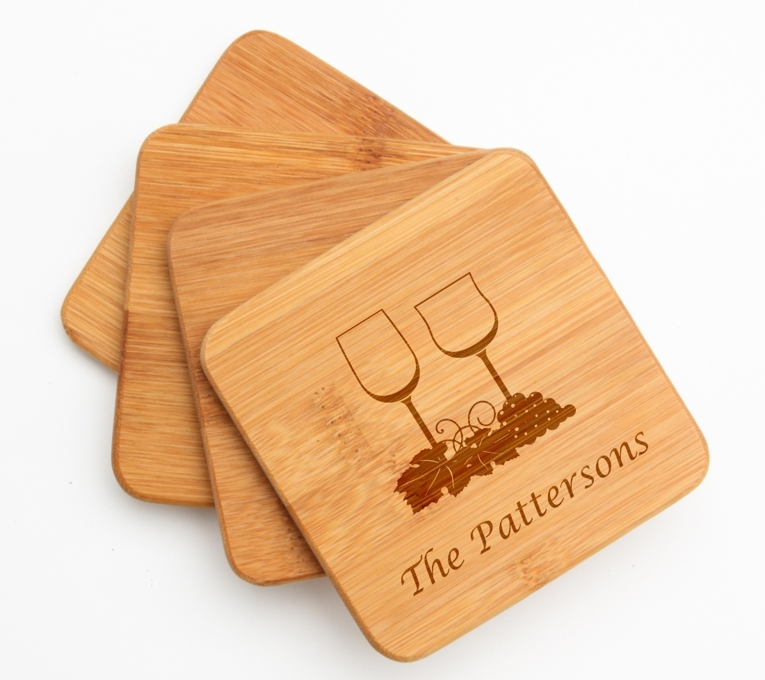Personalized Bamboo Coasters Engraved Bamboo Coaster Set DESIGN 5 BCS-005