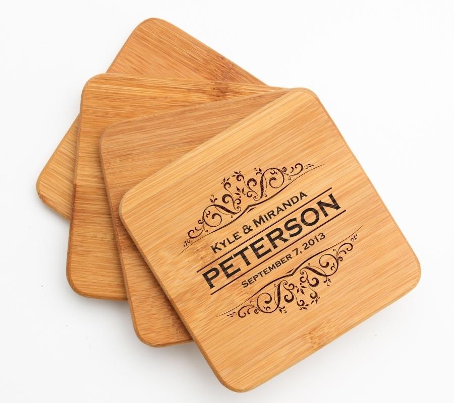 Personalized Bamboo Coasters Engraved Bamboo Coaster Set DESIGN 7 BCS-007