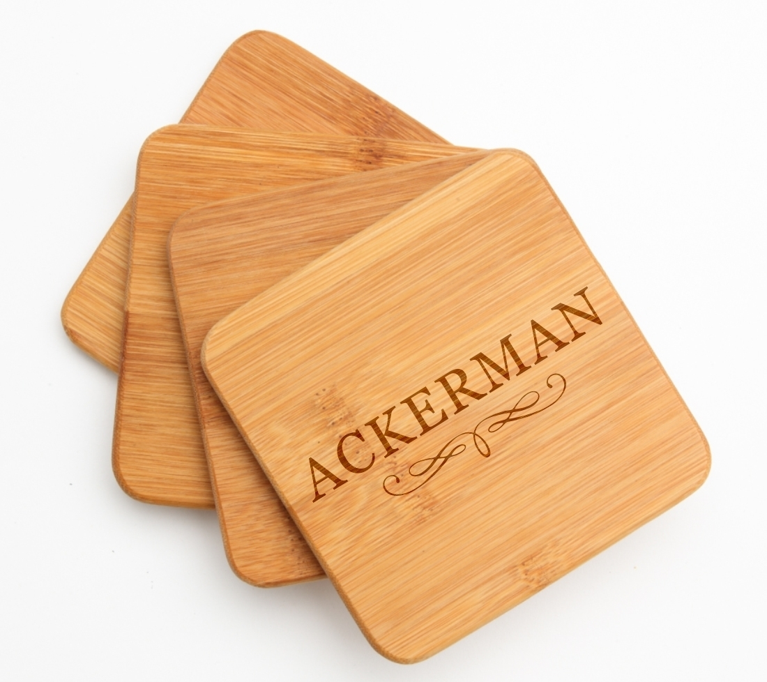 Personalized Bamboo Coasters Engraved Bamboo Coaster Set DESIGN 8 BCS-008