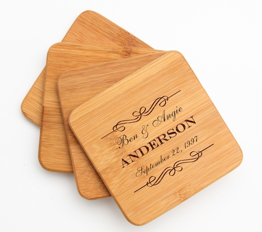 Personalized Bamboo Coasters Engraved Bamboo Coaster Set DESIGN 9 BCS-009