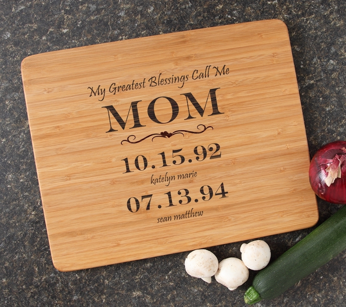 Engraved Bamboo Cutting Board Personalized 15x12 DESIGN 38 CBB-038
