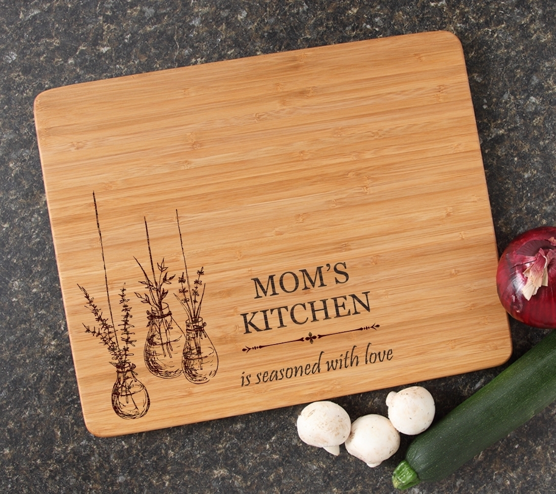 Engraved Bamboo Cutting Board Personalized 15x12 DESIGN 37 CBB-037