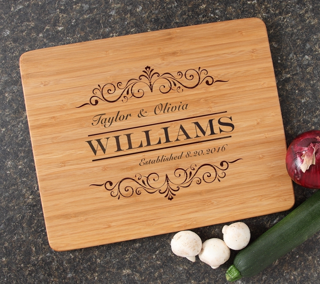 Engraved Bamboo Cutting Board Personalized 15x12 DESIGN 34 CBB-034