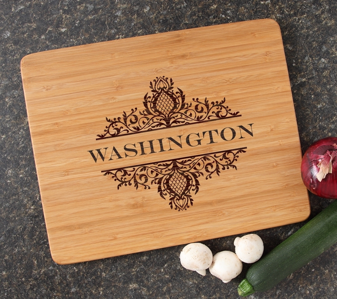 Engraved Bamboo Cutting Board Personalized 15x12 DESIGN 36 CBB-036