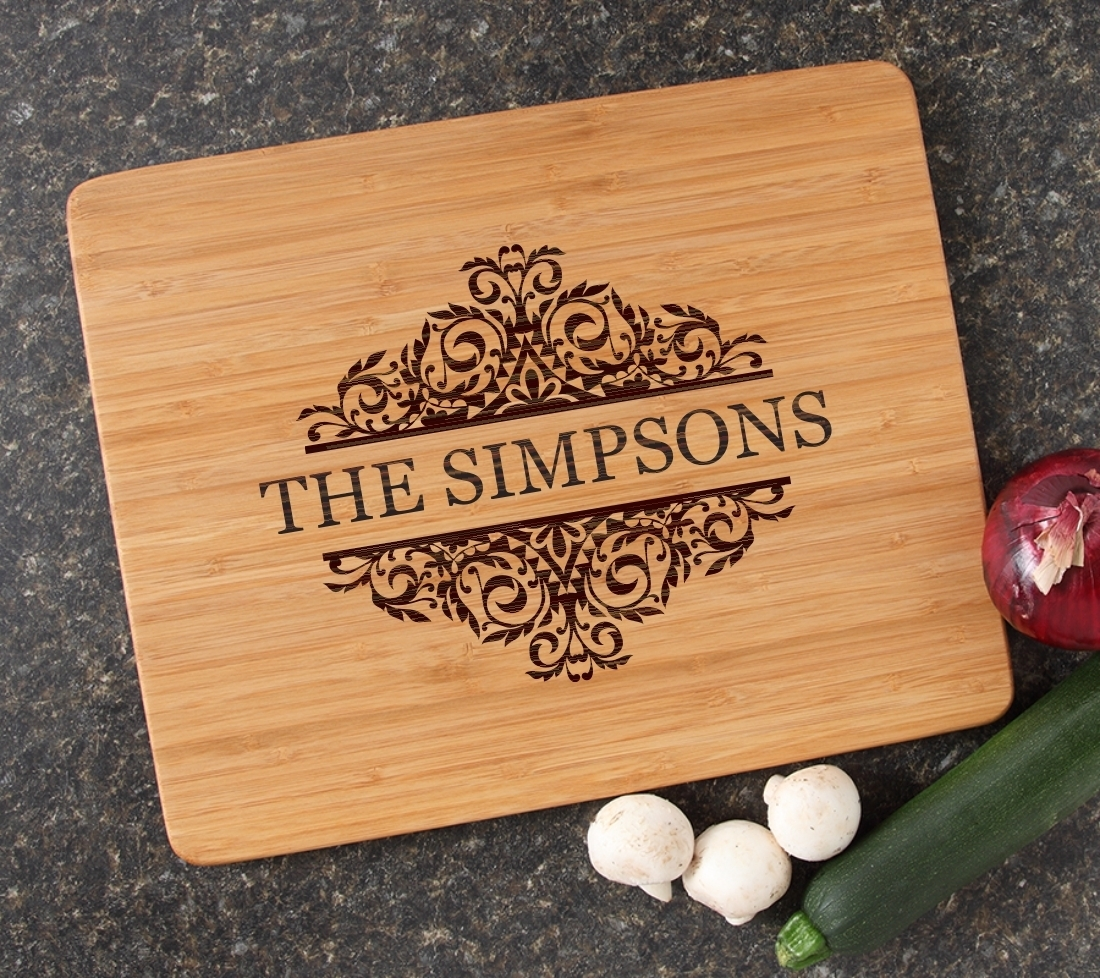 Engraved Bamboo Cutting Board Personalized 15x12 DESIGN 39 CBB-039