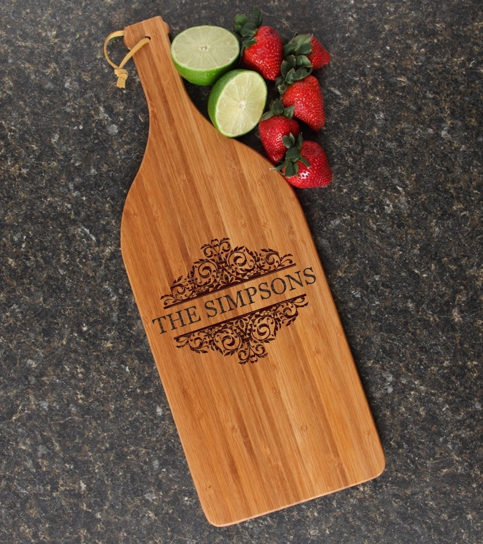 Personalized Cutting Board Engraved Bamboo 16 x 5 DESIGN 39 CBD-039