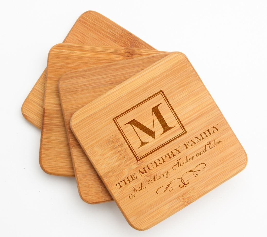 Personalized Bamboo Coasters Engraved Bamboo Coaster Set DESIGN 41 BCS-041