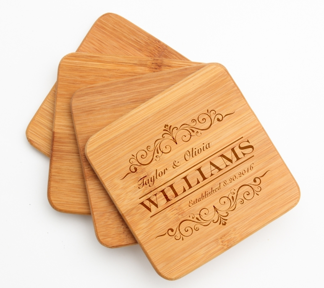 Personalized Bamboo Coasters Engraved Bamboo Coaster Set DESIGN 34 BCS-034