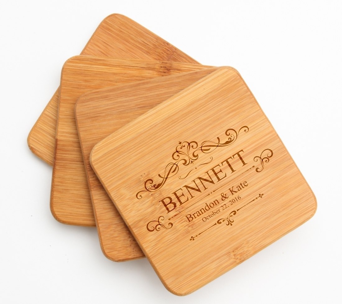 Personalized Bamboo Coasters Engraved Bamboo Coaster Set DESIGN 35 BCS-035