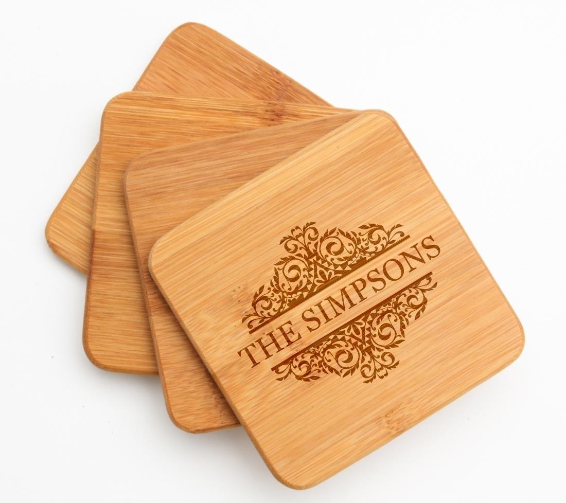 Personalized Bamboo Coasters Engraved Bamboo Coaster Set DESIGN 39 BCS-039