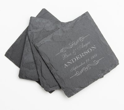 Personalized Slate Coasters Engraved Slate Coaster Set DESIGN 9