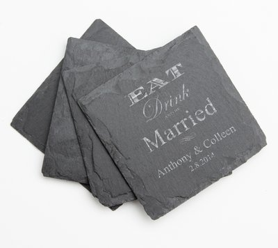 Personalized Slate Coasters Engraved Slate Coaster Set DESIGN 17