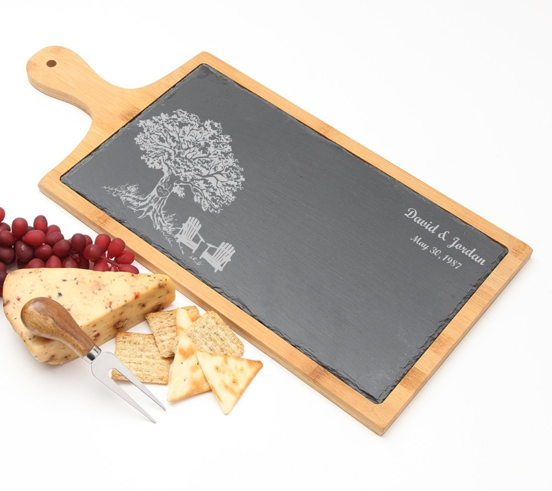Personalized Cheese Board Slate and Bamboo Wood 19 x 9 DESIGN 31 SCBB-031