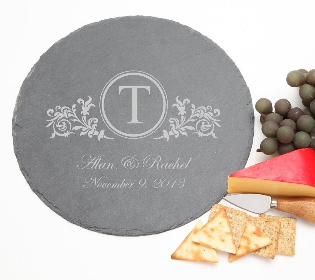 Personalized Slate Cheese Board Round 12 x 12 DESIGN 15 SCBR-015