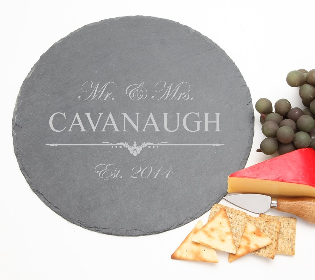 Personalized Slate Cheese Board Round 12 x 12 DESIGN 19 SCBR-019