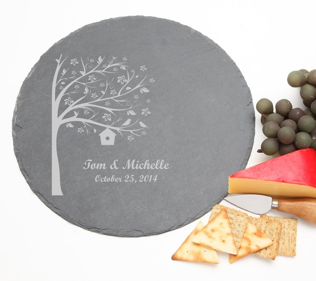 Personalized Slate Cheese Board Round 12 x 12 DESIGN 27 SCBR-027