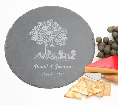 Personalized Slate Cheese Board Round 12 x 12 DESIGN 31