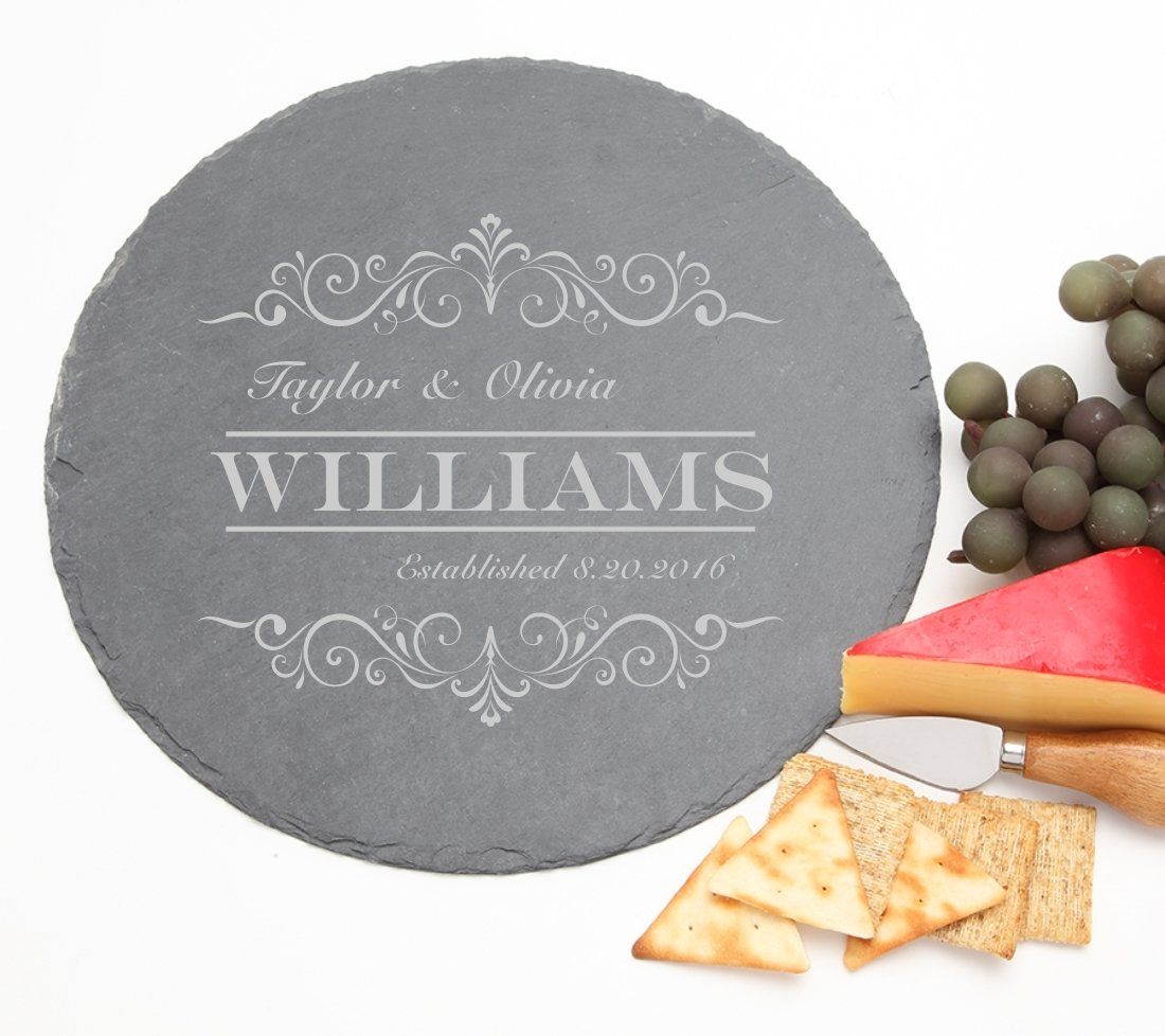 Personalized Slate Cheese Board Round 12 x 12 DESIGN 34