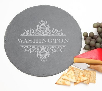 Personalized Slate Cheese Board Round 12 x 12 DESIGN 36